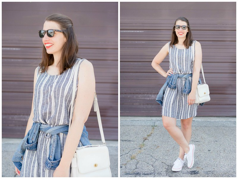 stripe Old Navy dress + denim jacket + converse sneakers; casual summer outfit | Style On Target