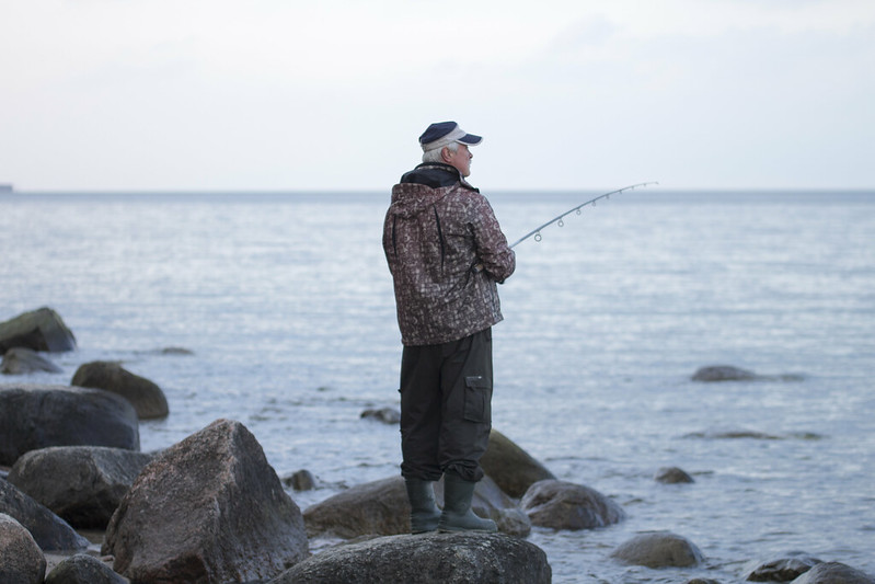 Fishing at the Polish seaside