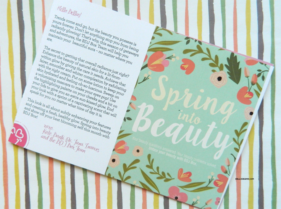 Spring Into Beauty April BDJBox 2015 Message from BDJBox Team
