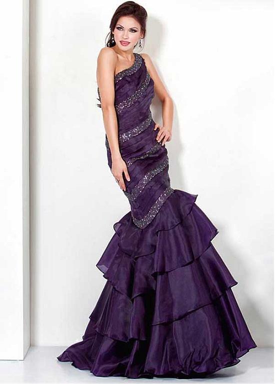 b418330b ... Chic Organza Satin & Sequin Lace One Shoulder Neckline Floor-length  Mermaid Sexy Prom Dress