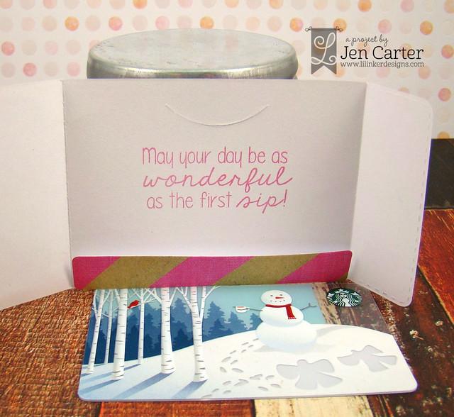 Jen Carter Iced Coffee Gift Card Holder Hug Mug Frappe Inside