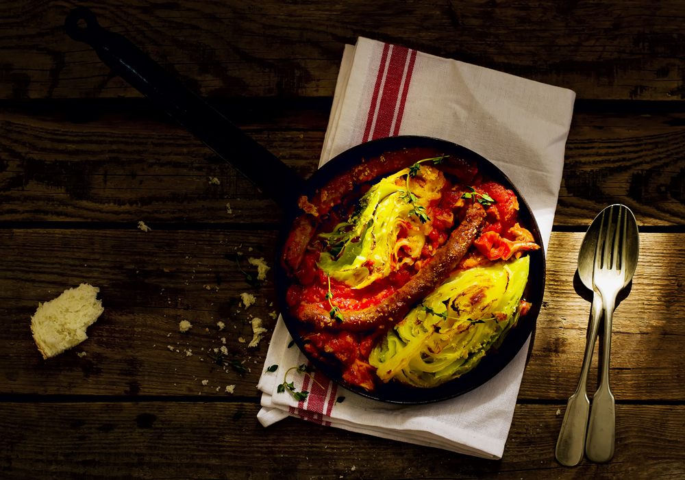 The baked cabbage with sausages
