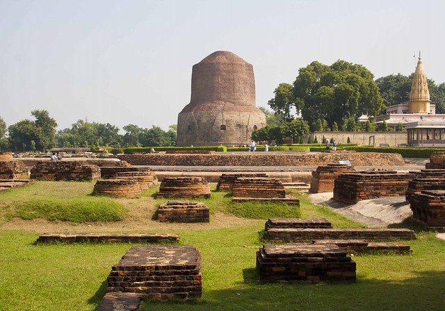 Ruins of Monasteries in Sarnath (Dhamekha Stupa) , Uttar Pradesh