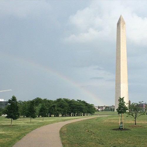 Rainbow and monument.