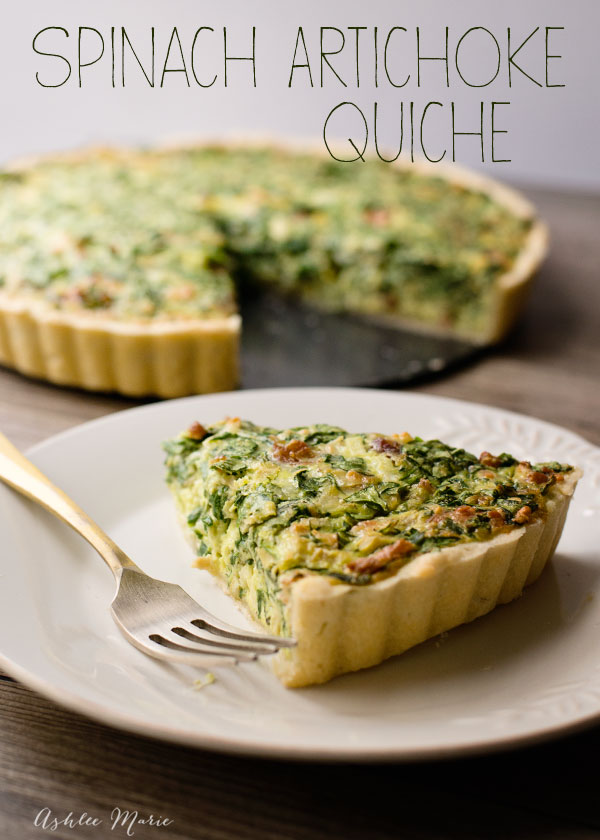 this spinach artichoke quiche is easy to make and tastes amazing, cheese and bacon add to the wonderful flavor