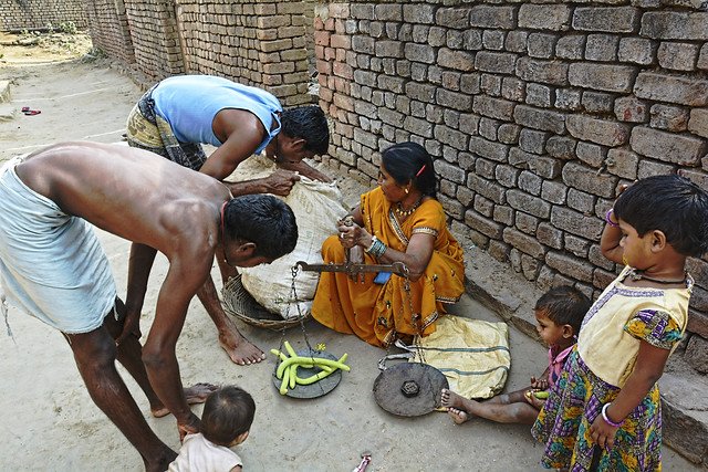 """Shanti Bai, a vegetable seller of Piperkhedi village in Durg says, """"The livelihoods of more than 250 marginalised farmers who used to grow vegetables around the Shivnath in Durg has been affected. The main reason is over-extraction of soil from the river bed."""