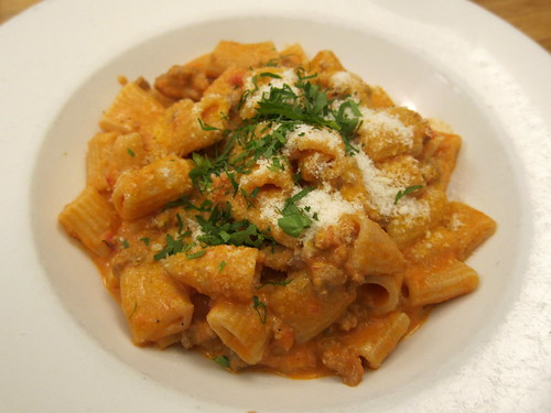 Rigatoni with braised pork-fennel sausage