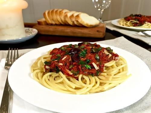 pasta puttanesca for two