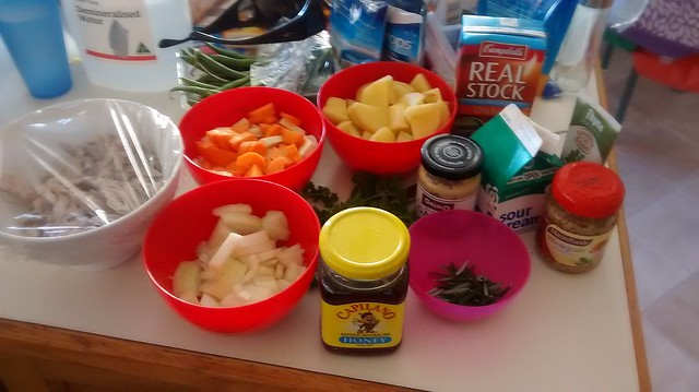 chicken and vege with honey mustards