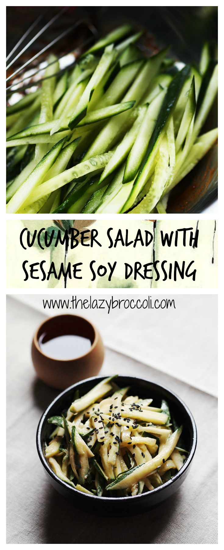 This 3 ingredients cucumber salad is not just refreshing - it is also easy and fast to make! #cucumber #salad #vegan #vegetarian #raw #noonionnogarlic #lowcarb #glutenfree #asian #chinese #noonionnogarlic #recipe #thelazybroccoli