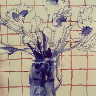 Or this. #sketchbook #watercolor #painting #flowers #farmersmarketgoods #try #howtopaintflowersnotcute | by annamariapotamiti