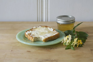 honeysuckle jelly on toast with ricotta | by childerhouse