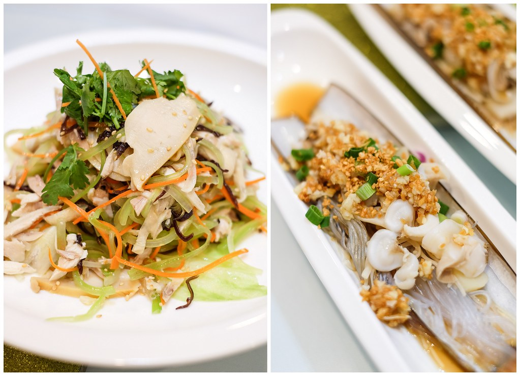 Diamond Kitchen's Shredded Chicken Salad with Abalone & Garlic Steamed Bamboo Clams