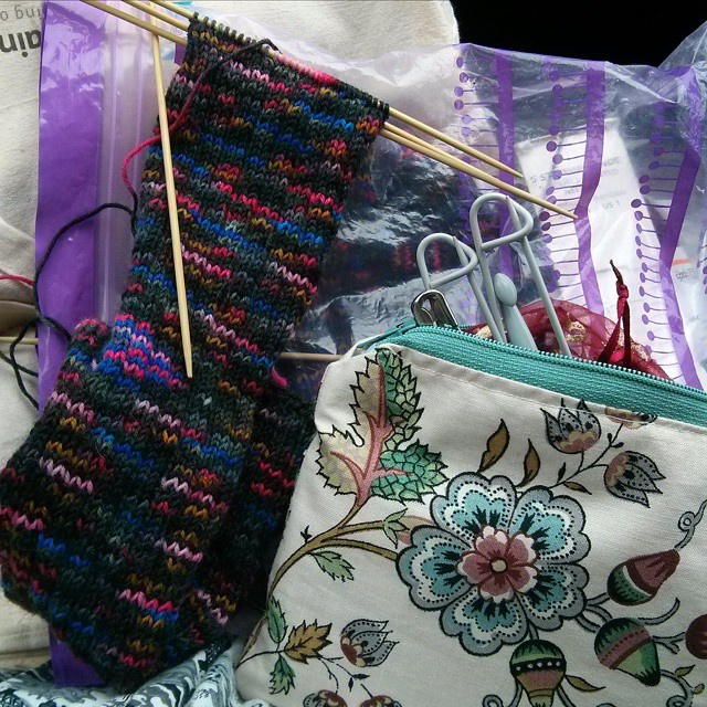 #mmm15 day 24 - cheatily not wearing me-made but making socks and using my zippy pouch of knitting accessories