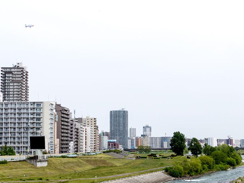 豊平川と飛行船
