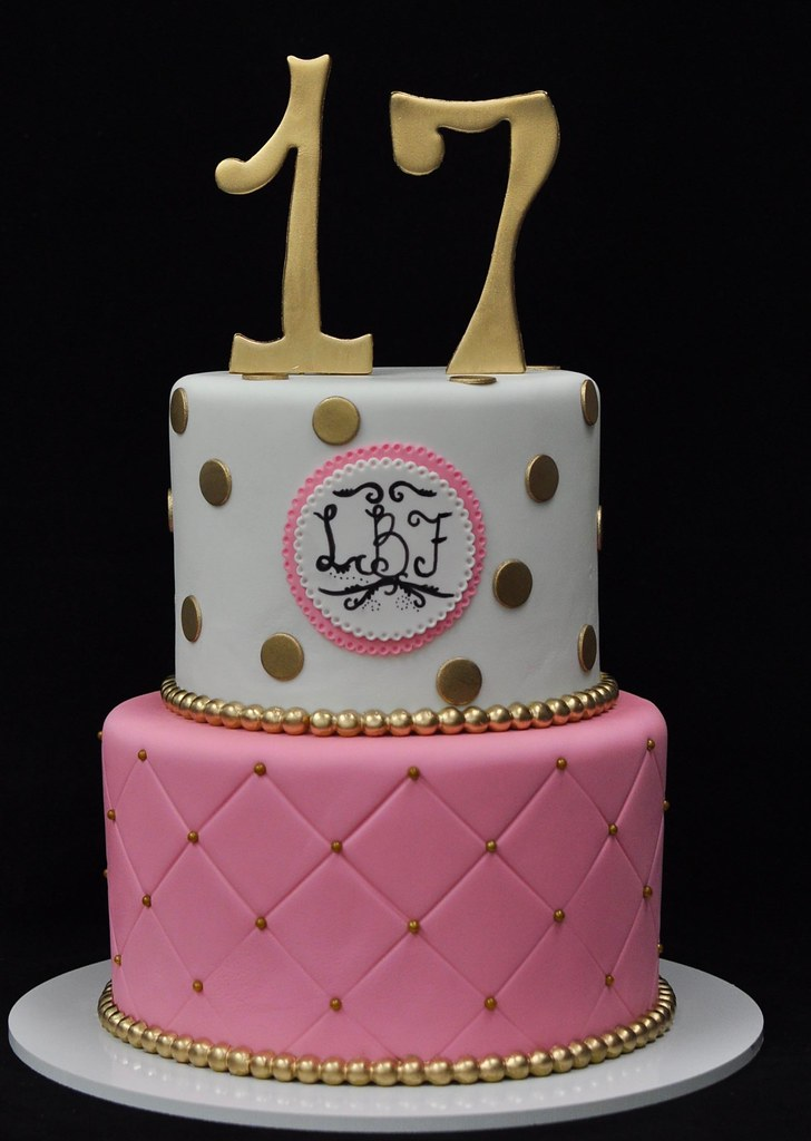 Pink Gold And White 17th Birthday Cake Jenny Wenny Flickr