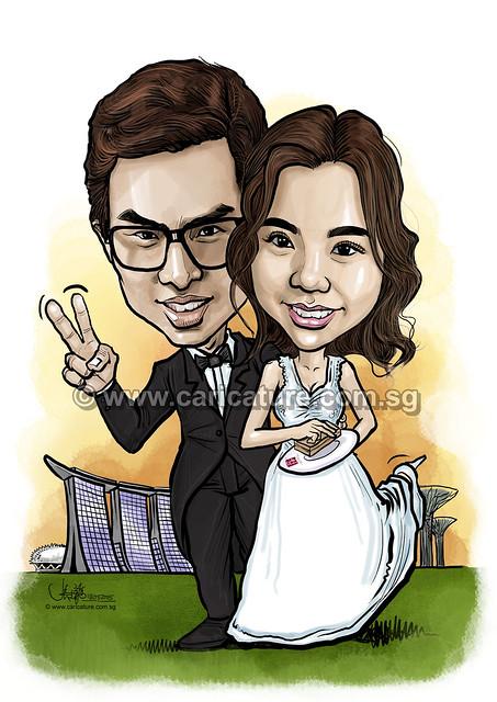 digital wedding couple caricatures (watermarked)