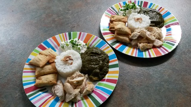 Rice, chicken samosas, cottage cheese, palak paneer.