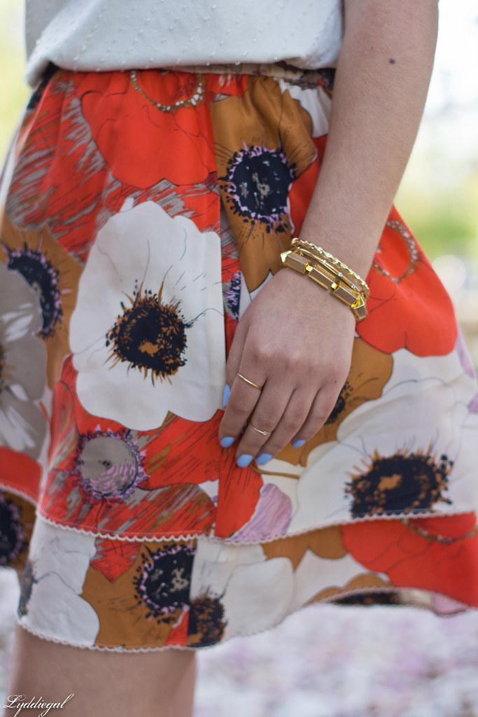 orange floral skirt, cream beaded top, leather tote-6.jpg