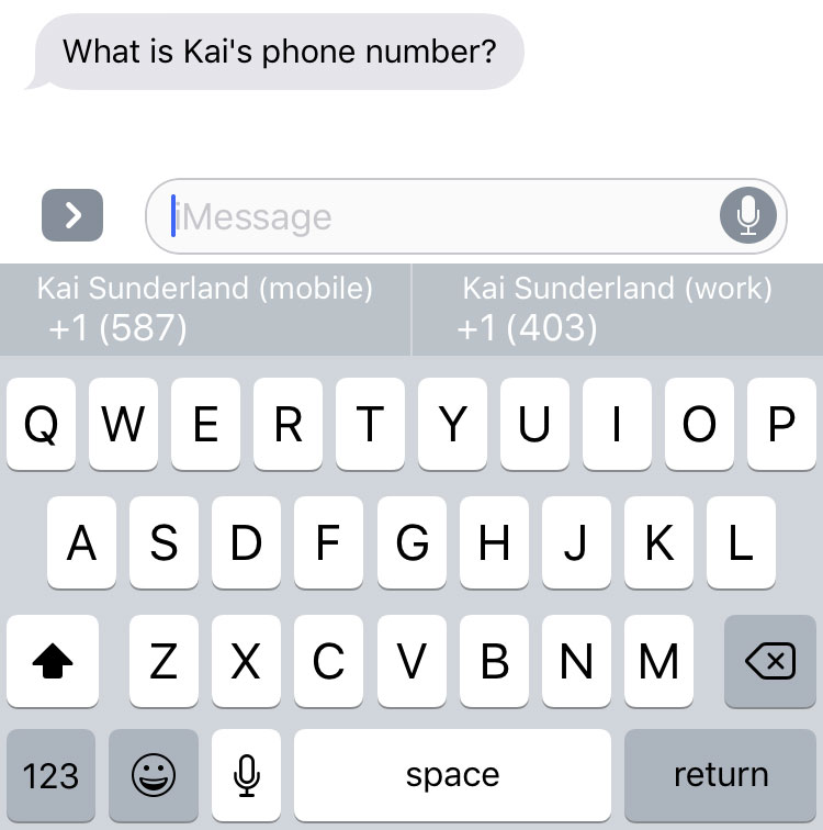 Phone numbers in QuickType