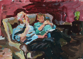 Couple on sofa acrylic sketch | by Clive Holloway
