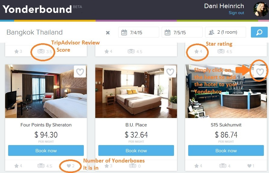 Yonderbound hotel selection