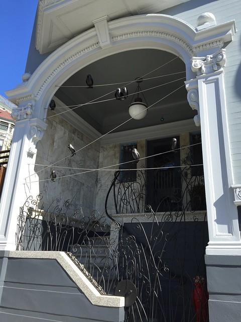 Bird sculptures entryway, Mission Dolores