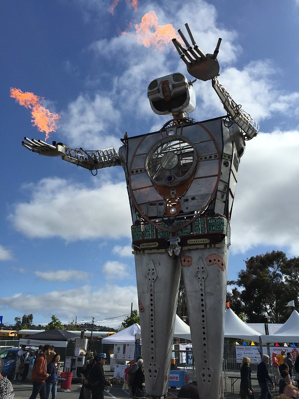 Robot sculpture fire