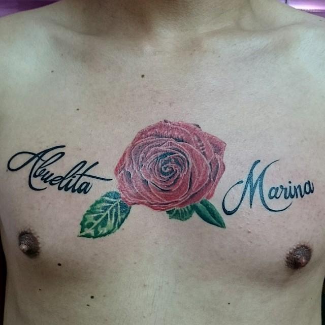 Tatuaje Rosa En Pecho Este Y Muchos Trabajos Mas En Ken Flickr