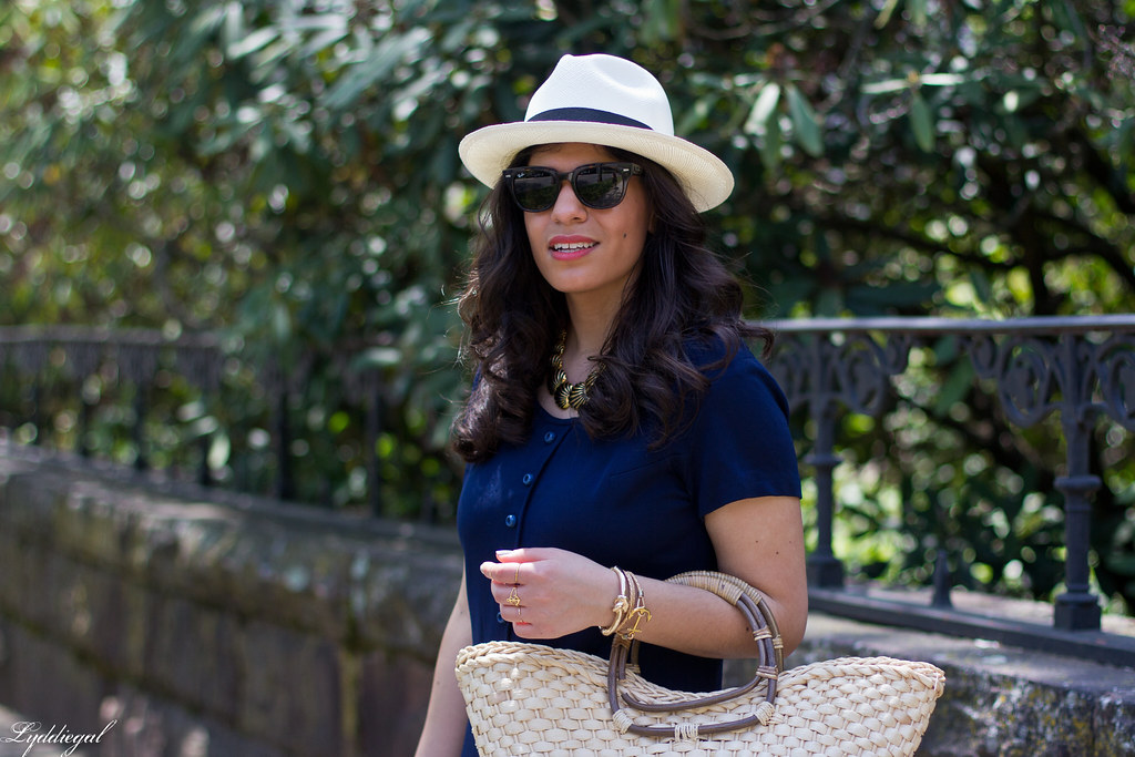 navy drop waist dress, panama hat, straw bag-12.jpg