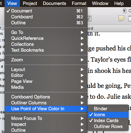Scrivener View menu with Label colour options