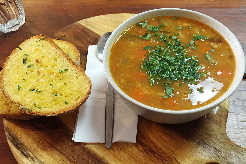 Minestrone and garlic bread