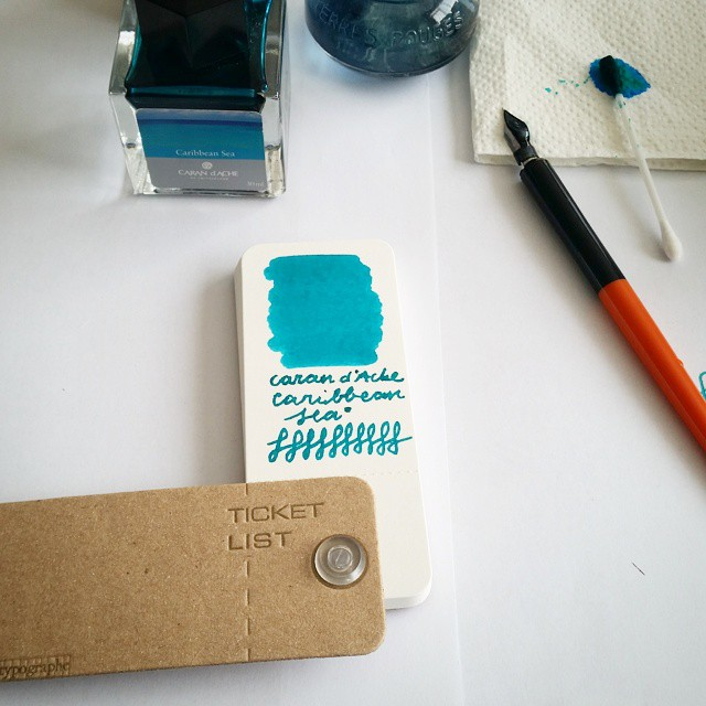 This is definitely my fave turquoise ink (still weep that it is discontinued!) #carandache #caribbeansea #ticketlist #letypographe #fountainpenink #dippen #fpgeeks @misc_store_ams #miscstore #miscellaneous