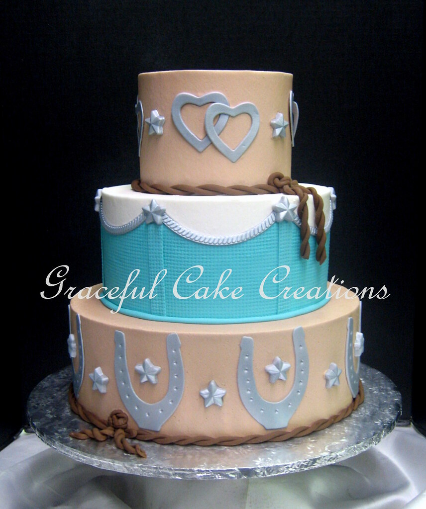 western wedding cake pictures western themed wedding cake in and turquoise with silv 27028