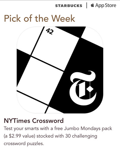 Starbucks iTunes Pick of the Week - NYTimes Crossword