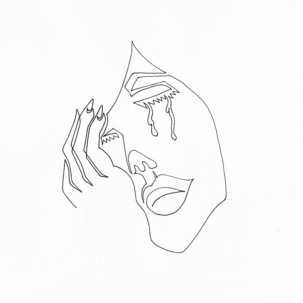 Single Line Art : A single line drawing of female crying into her hand