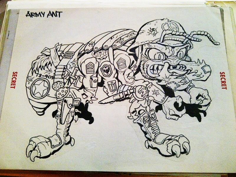 """MEGA MUTANTS"" TEENAGE MUTANT NINJA TURTLES :: ""ARMY ANT"" / ..unreleased M.M. toy - Ant design i (( 1990 ))  [[ Art and courtesy of D. Arshawsky ]]"