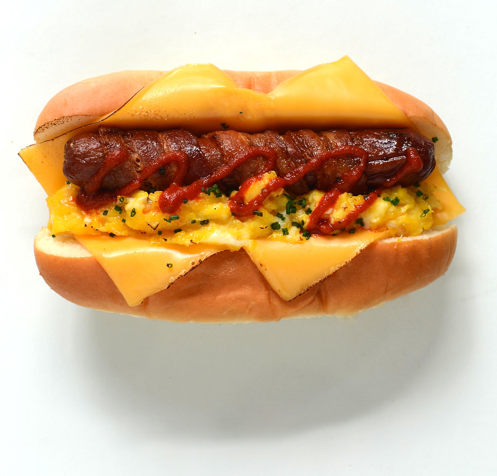Breakfast Hot Dog bacon wrapped scrambled eggs american ch ...