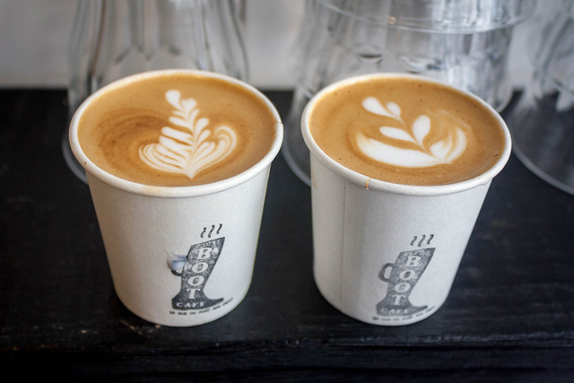 Two cortados from Boot Café, Paris