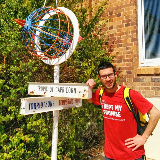 Standing on the Tropic of Capricorn in Longreach, QLD Australia.