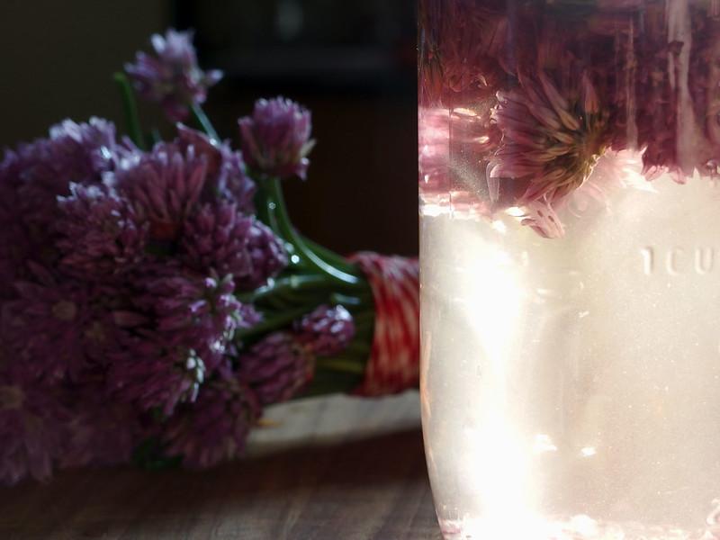 Glowing jar of vinegar