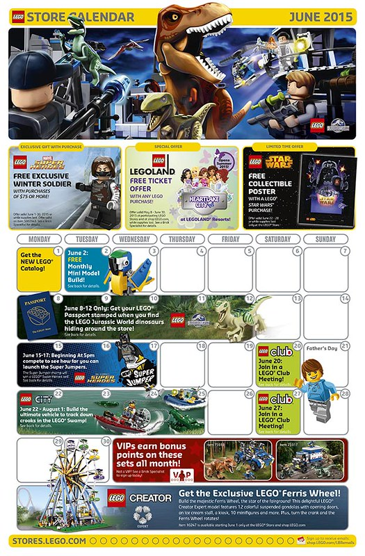 LEGO Shop June 2015 Calendar