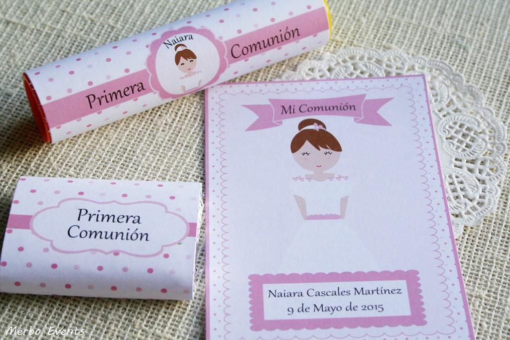 dulces personalizados para Candy bar comunión niña Merbo Events