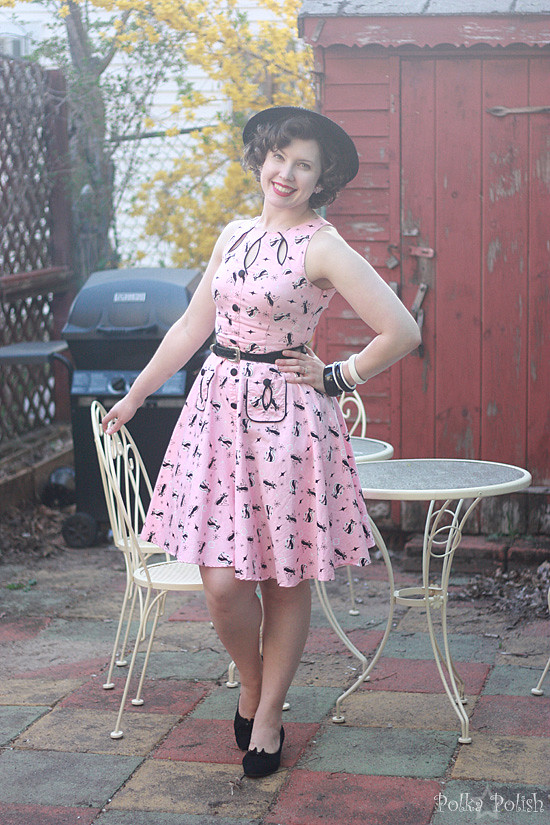 Voodoo Vixen atomic cat print dress styled with vintage accessories