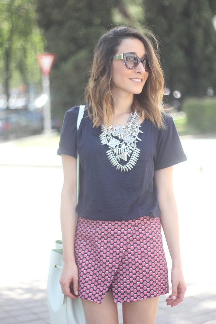 Shorts, Pink, Blue, Uterqüe, Heels, 06
