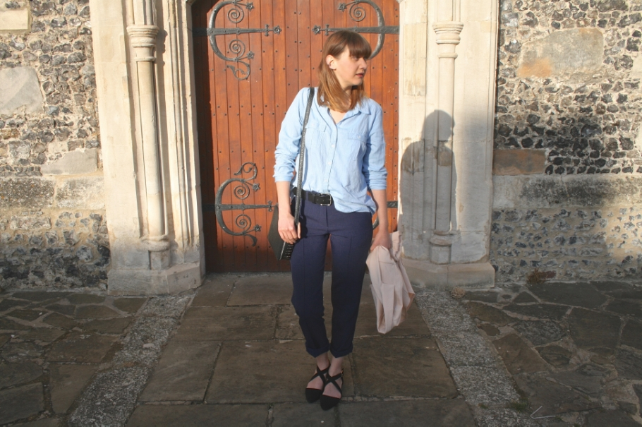 cropped navy trousers and chambray shirt