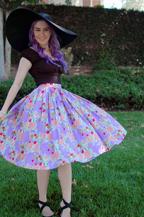 Jenny skirt in Mary Blair Lavender Lips and Roses