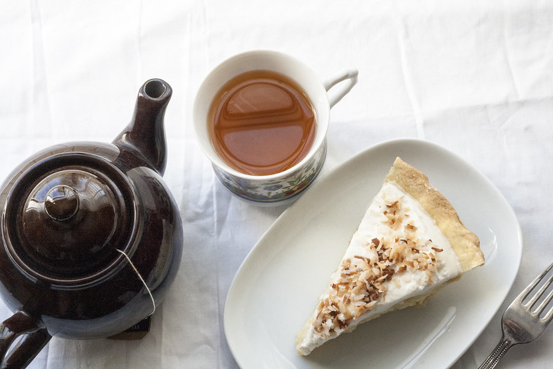 tea with coconut cream pie