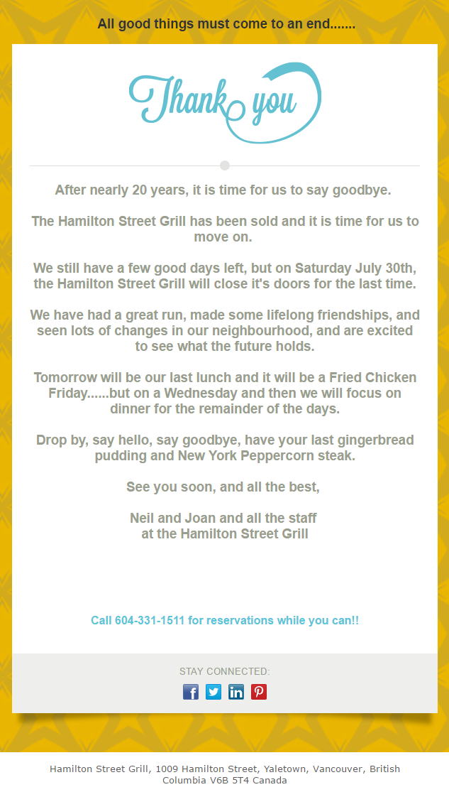 Hamilton Street Grill closing end of July-30-2016