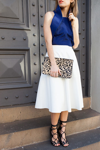 White midi skirt, Leopard print clutch